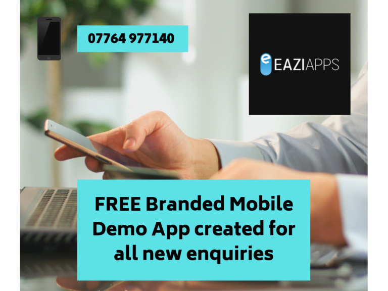 FREE Branded Mobile Demo App created for all enquiries at EaziApps