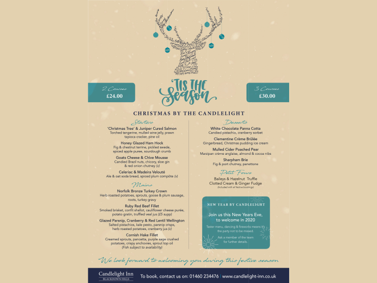Book your Christmas lunch at The Candlelight Inn