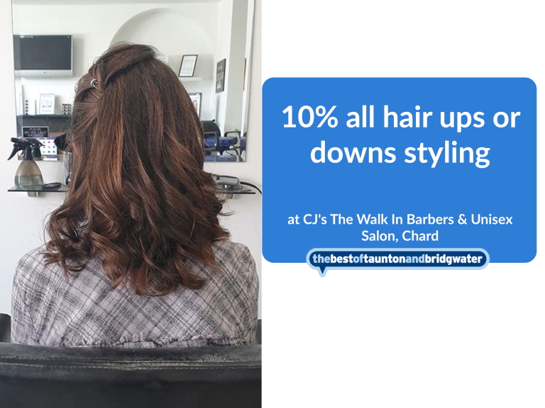 10% off all hair ups or downs styling