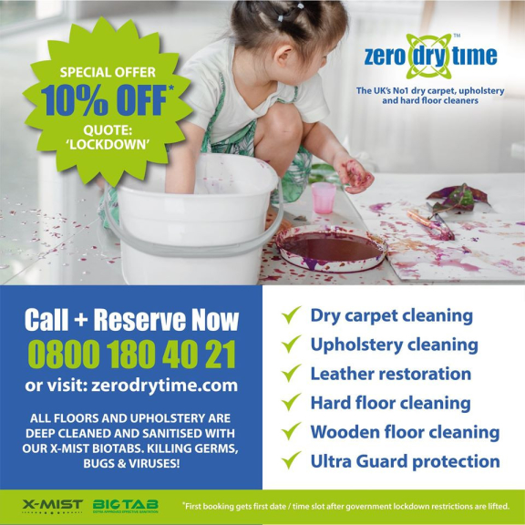 10% floor, carpet and upholstery cleaning bookings with code 'LOCKDOWN' at Zero Dry Time