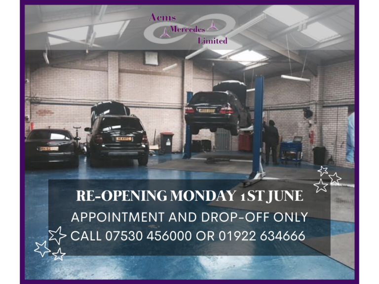 Get your Mercedes serviced for less with ACMS Mercedes Ltd now back open for business!