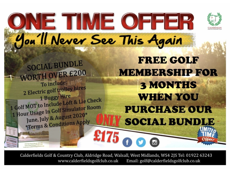 FREE Golf Membership for 3 Months when you purchase a social bundle at Calderfields Golf and Country Club