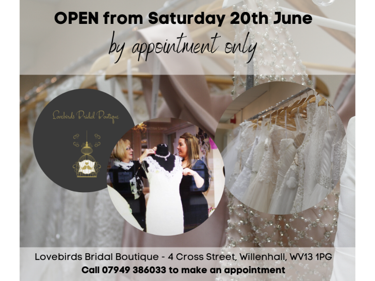 Say Yes to the Dress at Lovebirds Bridal Boutique - Open Saturday 20th June