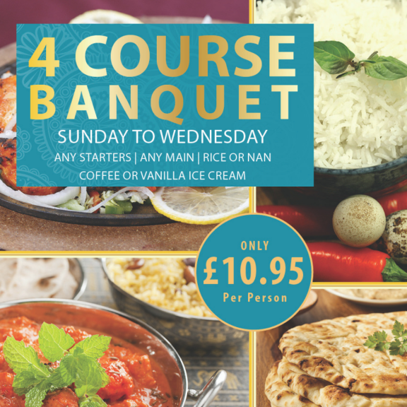 4 Course Banquet only £10.95 per person at The Royal Oak Indian Restaurant