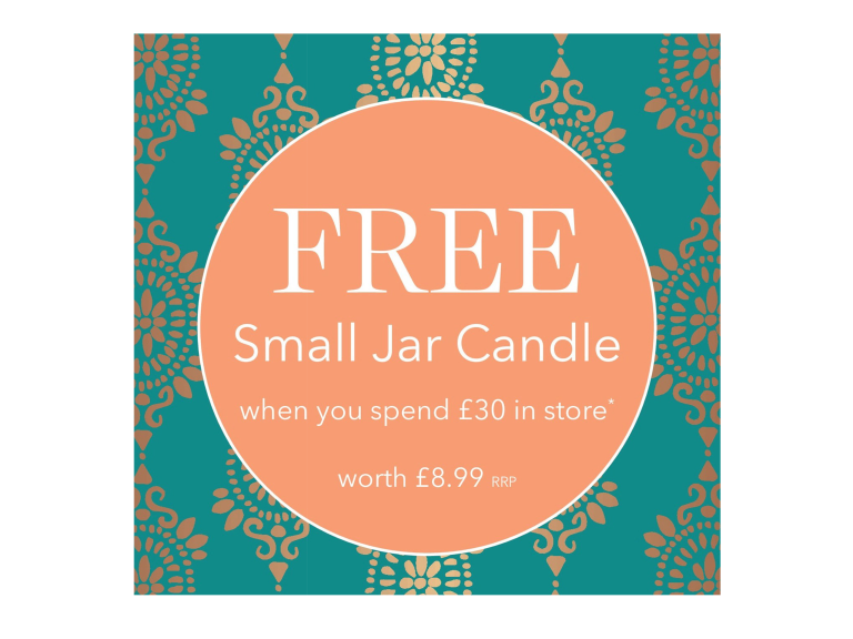 FREE Small Jar Candle when you spend £30!