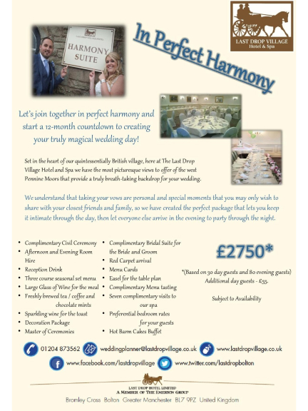 Intimate Winter Wedding offer from the Last Drop Village Hotel & Spa