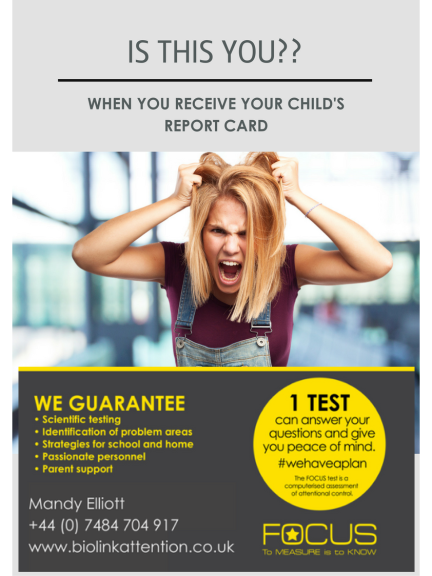 45% off a test to see if your child has poor concentration