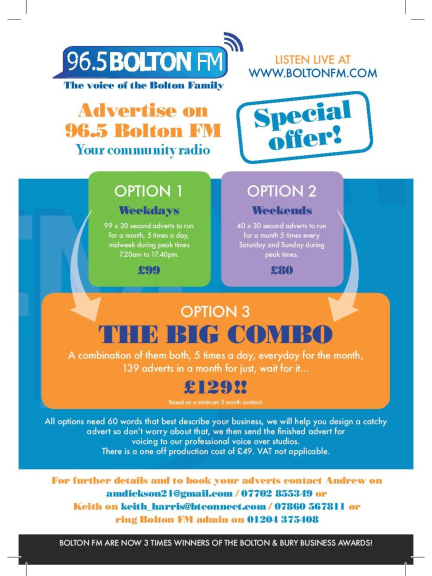 Radio Advertising Offers from Bolton FM