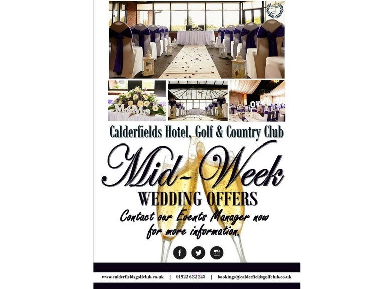 Fantastic Mid-Week Offers on Wedding Receptions at Calderfields Golf & Country Club