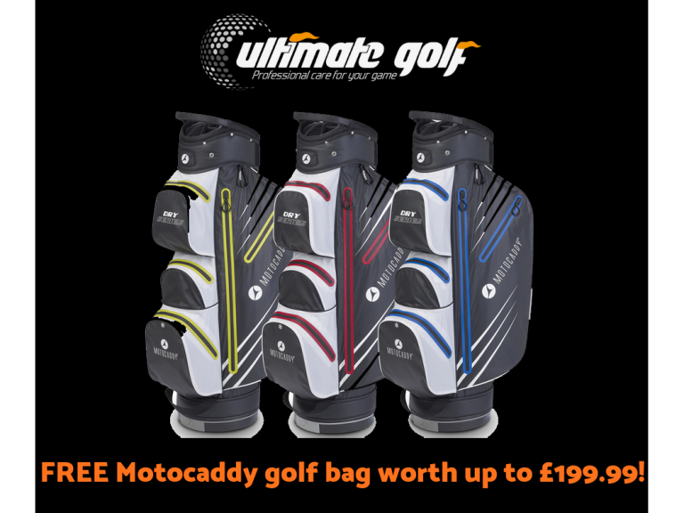 FREE Motocaddy golf bag worth up to £199.99!