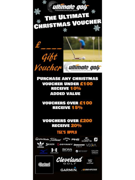 Christmas Gift Vouchers with up to 20% added value at Ultimate Golf Walsall