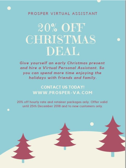 XMAS DEAL - 20% OFF VIRTUAL ASSISTANT SERVICES