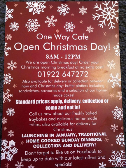 Christmas Breakfast Available on Christmas Day at One Way Cafe!