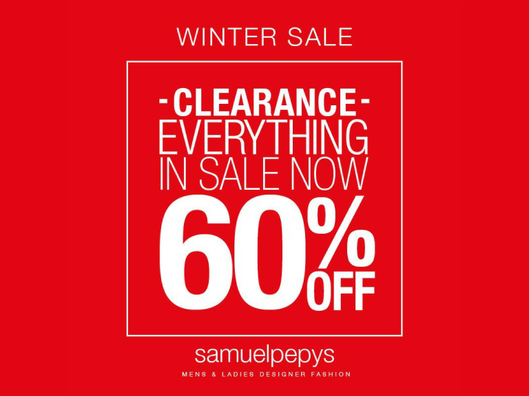 60% OFF SALE ITEMS AT SAMUEL PEPYS