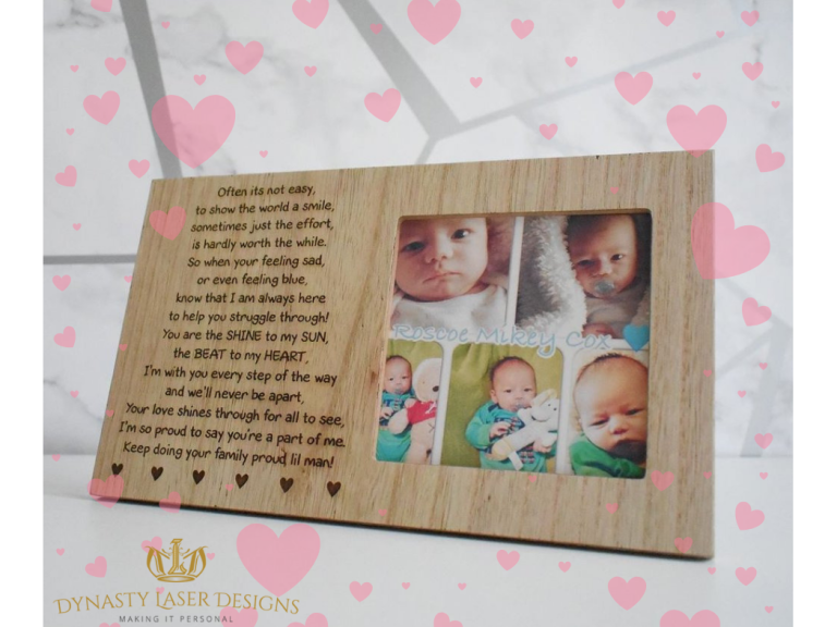 Personalised photo frames from just £18.99 at Dynasty Laser Designs