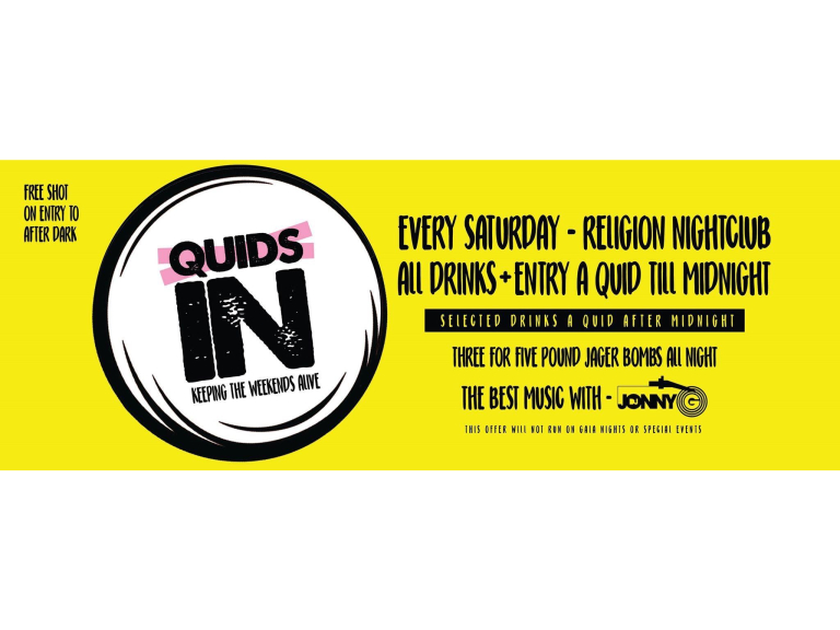 All drinks & Entry just a £1 on a Saturday Night @ Religion Walsall