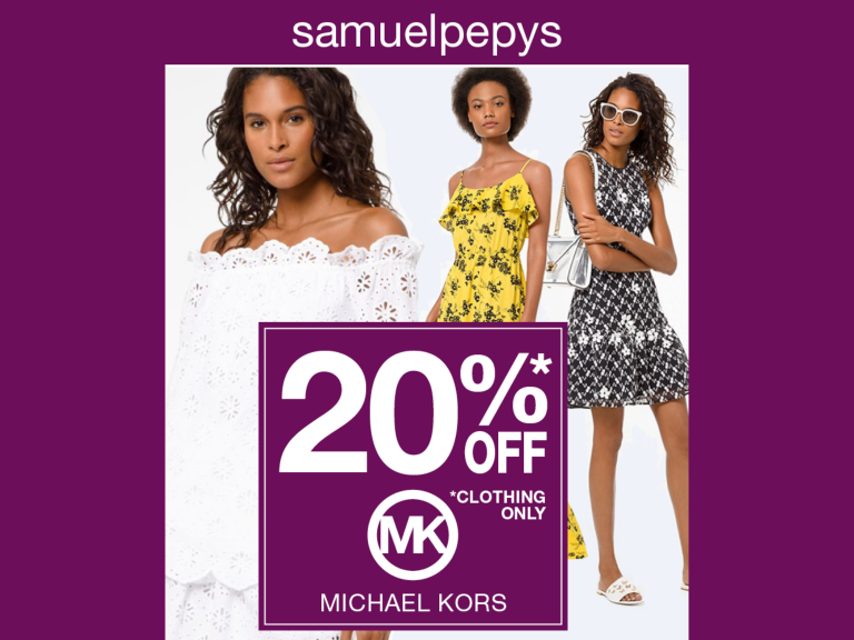 20% OFF MICHAEL KORS CLOTHING AT SAMUEL PEPYS