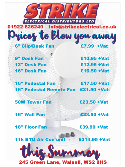 Prices to blow you away at STRIKE Electrical -  Great prices on Desk fans, floor fans, wall fans and more!