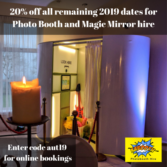 20% off all remaining 2019 dates for Photo Booth and Magic Mirror hire at Kabooth Photo Booth