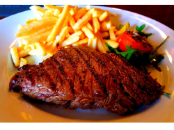 2 bavette steak meals with chips, onion rings & a drink for only £25! Every Monday!