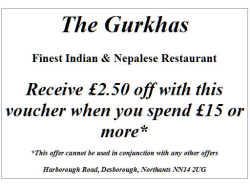 £2.50 off at The Gurkhas.