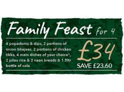 Family Feast for Four £34 - Save £23.60 At The Delhi Indian Restaurant