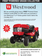 FREE* Powered Grass Collector worth £525 with new Westwood T or F Series garden tractor
