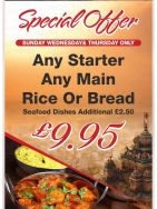 Any Starter, Any Main & Rice or Naan for £9.95