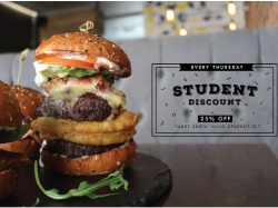 Student Discount: 25% Off  All Food at SkyFall!
