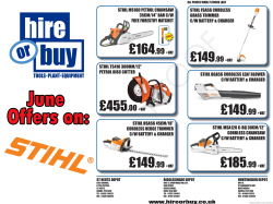 June Offers On Stihl Power Tools - Hire & Buy St Neots