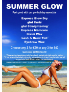 Choose any 2 Summer Glow Treatments for £30 or choose any 3 for £40