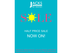 The Jack's Summer Sale is NOW HALF PRICE!