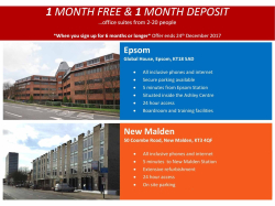 1 month FREE and 1 month deposit on Fully Serviced Offices #Epsom #NewMalden with @CityskylineUK