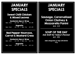 Taste Cafe Exeter January Specials