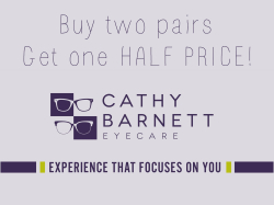 Buy 2 pairs of glasses, get the cheapest pair at HALF PRICE