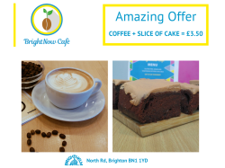Delicious Coffee + Slice of Cake for £3.50 only at Bright Now Cafe, Brighthelm Centre