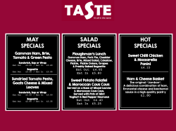Taste the May Specials!