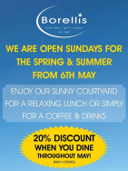 Sunday Offer - 20% Off when you dine at Borellis Wine Bar and Grill during May