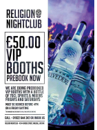 VIP Booth including bottle of spirits &  free entry for 6 for £50 at Religion!