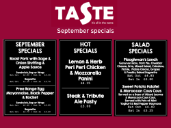 September lunch specials at Taste-Exeter