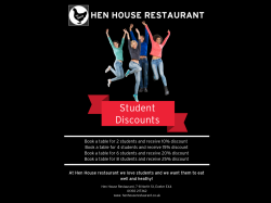 Student discounts at Hen House Restaurant in Exeter