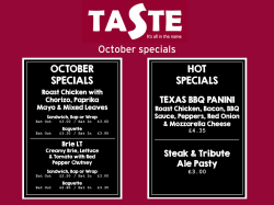 October lunch specials at Taste-Exeter