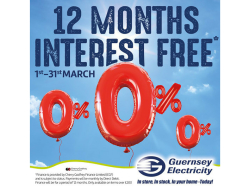 12 MONTHS INTEREST FREE CREDIT ON ALL GUERNSEY ELECTRICITY SHOP PURCHASES
