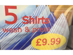5 Shirts washed & pressed for just £9.99 at Peacocks Tailoring