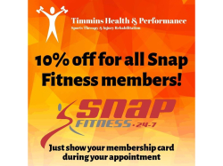 10% Off Timmins Health Treatments for Snap Fitness Members!