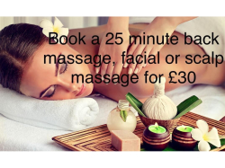 BACK MASSAGE, FACIAL OR SCALP MASSAGE FOR £30