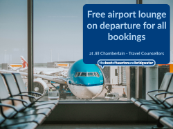 Free airport lounge on departure for all bookings
