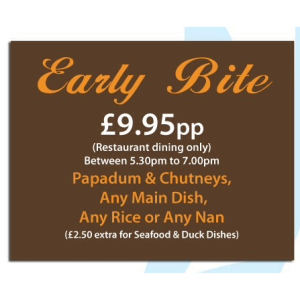 Early Bite - when two dine save a minimum of £13.20