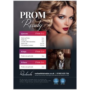 Get prom ready with Rachael's Unisex Hair Salon from just £25!