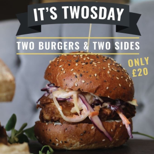 Twosday Special Offer: 2 Burgers, 2 Sides for £20 only